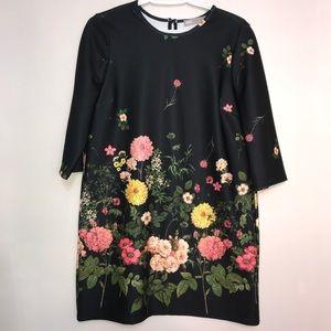 ASOS Black Vibrant Floral Quarter Sleeve Dress